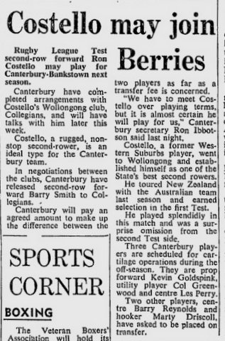 Ron Costello joins Berries 1970
