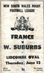 1968 Wests v France pro. front cover 1 JPG