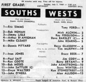 1968 Wests v Souths Redfern pro 1