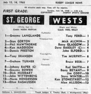 1968 Wests v saints pro SSG 1