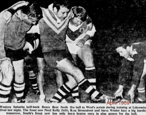 1969 Bruce Beer fedding scrum Liddy Oval before Souths game.