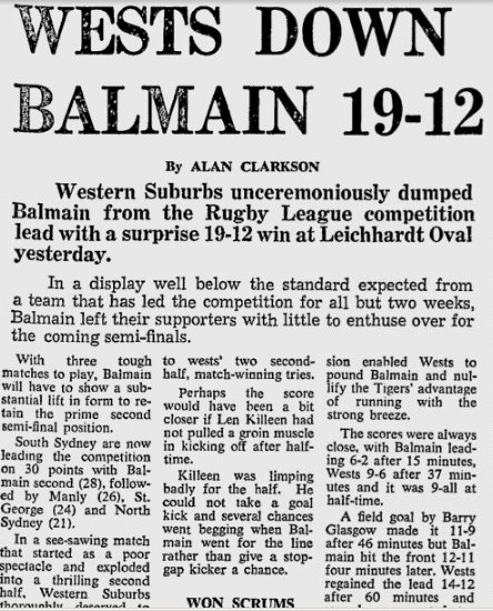 1969 Wests v Balmain Leicht SMH game report 1