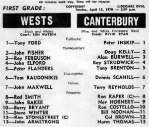 1970 Wests v Berries program