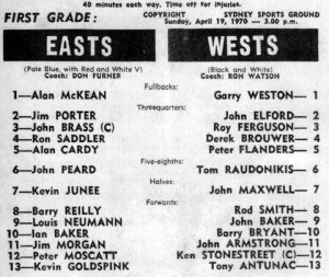1970 Wests v Easts program