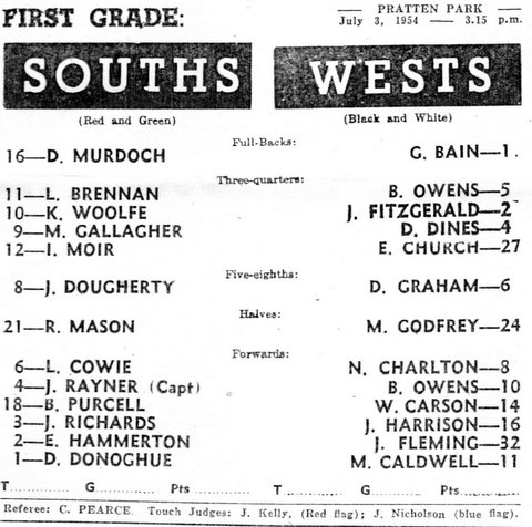 Max Godfrey First grade game 1954