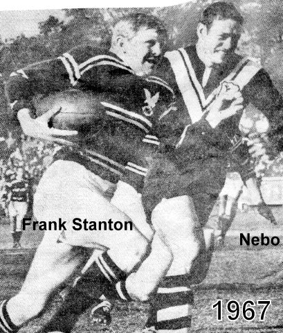 Nebo about to tackle Frank Stanton at Brookvale Oval 1967.