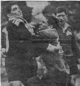 Jim Cody and Mick Falla Souths player O'Neill in background