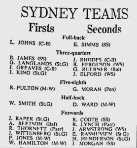 1968 Sydney Rep Teams
