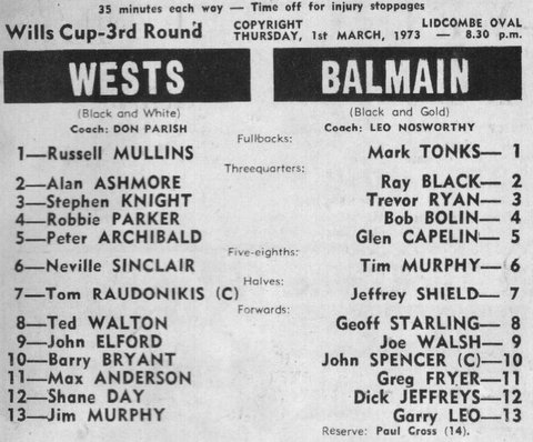 This was the last game that John played for Wests in 1973 .