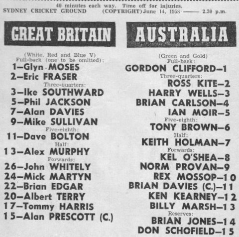 Chow Hayes story 1958 Aust v Briatin game after Pcup Final