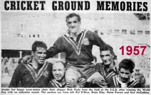 Dick Poole chaired off SCG 1957