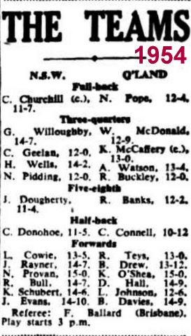 QLD team 1954