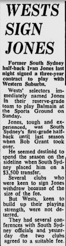 1970 Ivan Jones signs with Wests