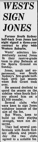 1970 Ivan Jones signs with Wests