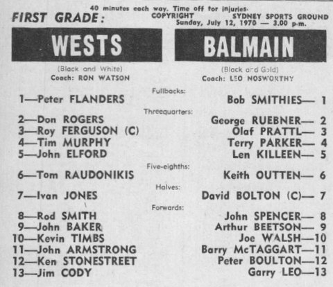 Kerry at MOL day Souths J Ivan Jones playing for Wests 1970