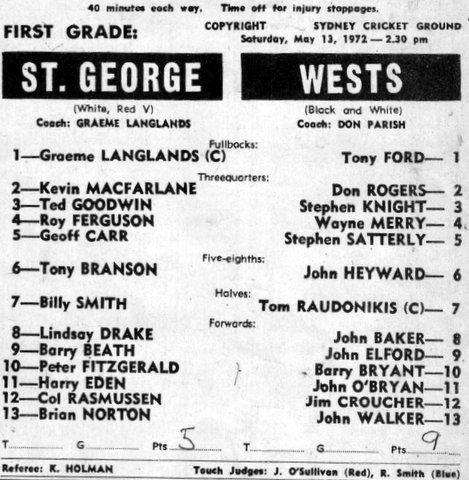 St G v Wests SCG 1972