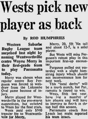 1970 Wayne Merry story Wenty to Wests