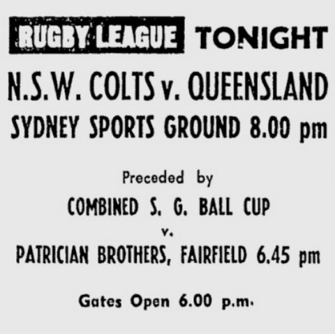 1972 NSW Colts v Queensland.