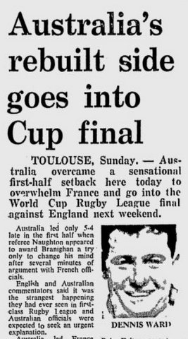 1972 World Cup v France 2nd game