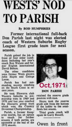 Don Parish new coach of Wests Oct 1971