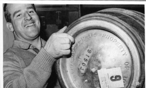 Noel Kelly with keg.