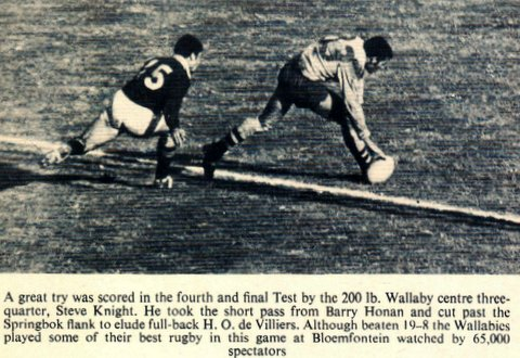 Steve scoring try 1969 in South Africa