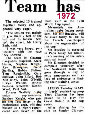 Steve write up about first Test RL 1972