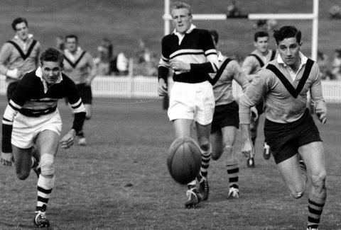 1958 SCG. Dave, Ces Partland, Balmain and Les Wyatt, Wests.
