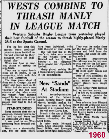 1960 Game report V Manly @ SSG
