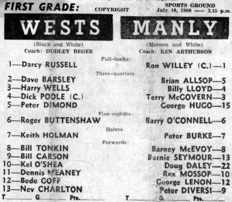 1960 Wests v Manly team program