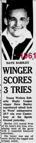 1961 Dave scores 3 tries story and pic.