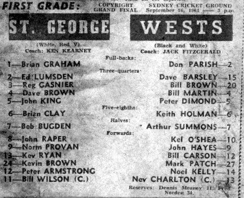 1961 Wests V StG program.