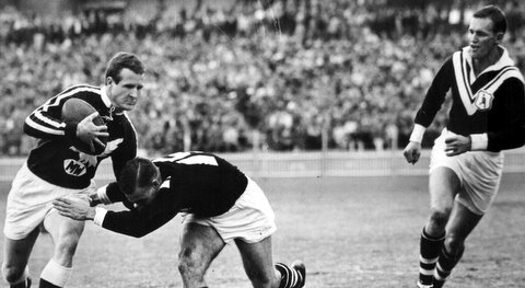 1961 Wests v Manly at SCG photo. Nick Yackich and Bill Martin.