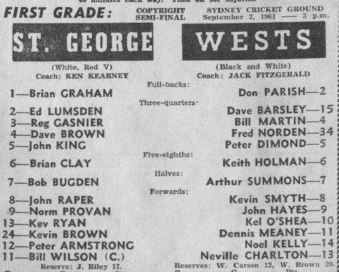 1961 Wests v  StG semi final. program