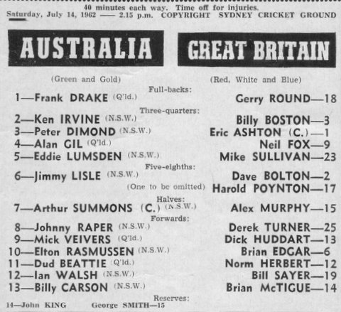 1962 Aust v GB program