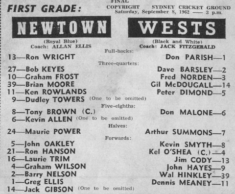 1962 Wests team photo before Newtown game. Final.