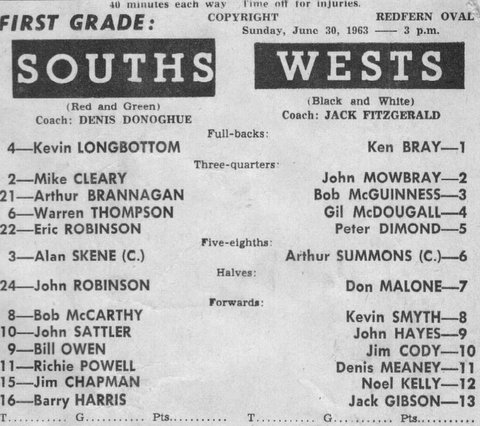 1963 Wests v Souths program