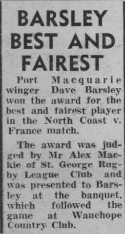 1964 Dave Best & Fairest v France.