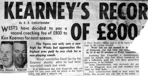 1964 Ken Kearney signs with Wests as coach.