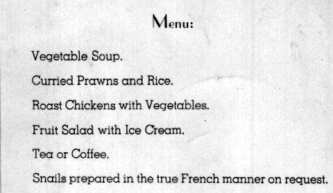 1964 Menu for dinner