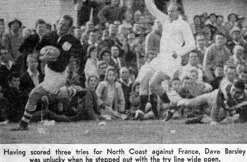 1964 pic Dave scoring try v France