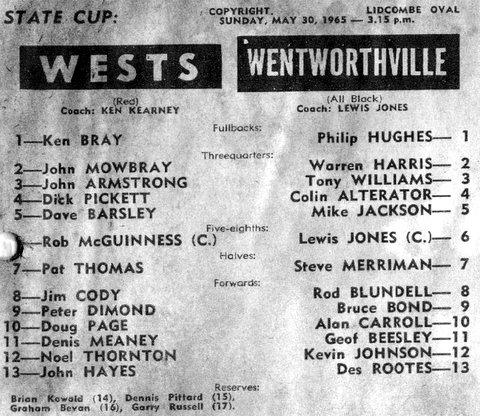 1965 State Cup v Wenty program