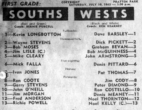 1965 Wests v Souths program