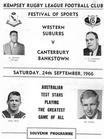 1966 Wests v Berries program Kempsey.