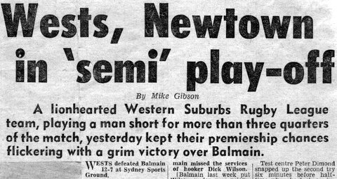 1966 Wests v Newtown playoff story.