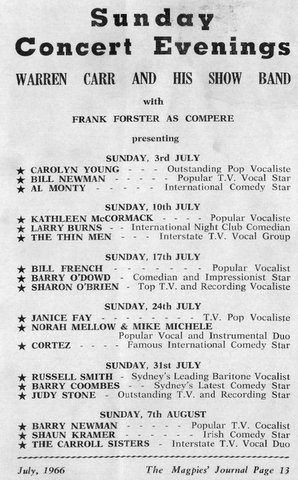 1966 whats on at wests club