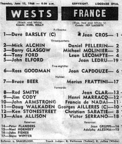 1968 Dave Capt of Wests v France program.