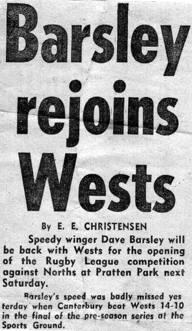 1968 Head line Barslet rejoins Wests