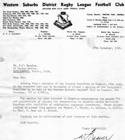 1968 letter from Wests about leaving club