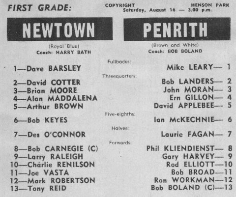 1969 Newtown v Penrith program